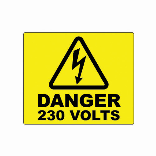 2 x Yellow Self Adhesive label DANGER 240 VOLTS TRIANGLE 50mm x 60mm
