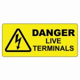 DANGER - LIVE TERMINALS LABEL